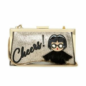 Trina Turk Cheers Gold Clutch